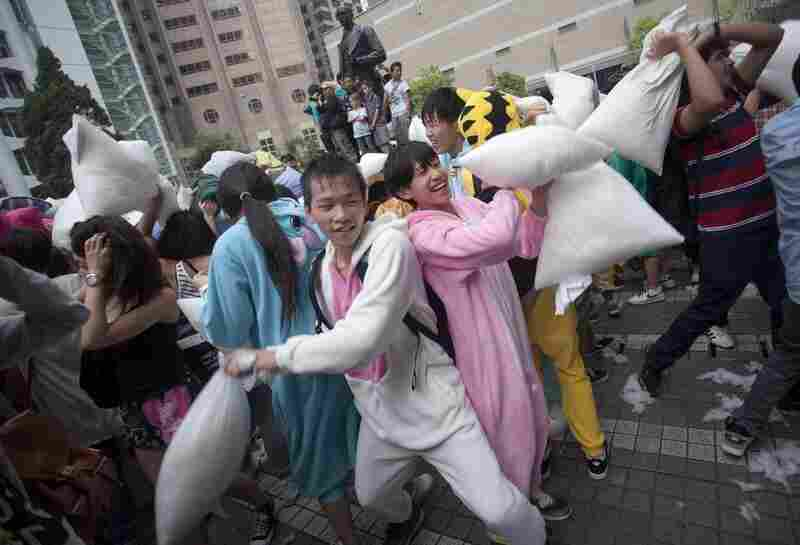 In Hong Kong, they fought with pillows a week early.