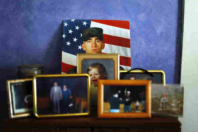 A portrait of Spc. John Nestico, 27, is displayed in his family's home in Woburn, Mass. Nestico wanted to be a soldier since he was a little boy, his mother, Judy says.