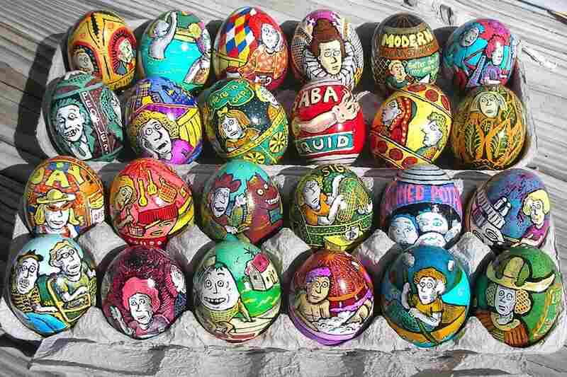 Contemporary artists continue to create new forms of egg art. New Yorker cartoonist Roz Chast learned pysanky technique to make egg art that reflects modern anxieties.
