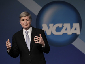 NCAA President Mark Emmert delivers his State of the Association speech on Jan. 12 during the organization's annual convention in Indianapolis.