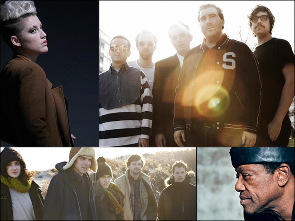 Clockwise from upper left: Sarah Jaffe, Hot Chip, Bobby Womack, Dirty Projectors.