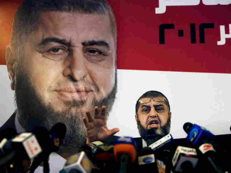 Khairat el-Shater, a presidential candidate with the Muslim Brotherhood, talks to reporters during a press conference in Cairo on Monday.