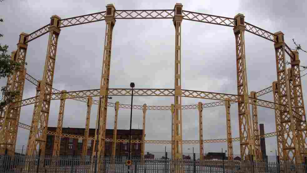 A gas storage facility in London. In the 19th century these tanks were called gasometers.
