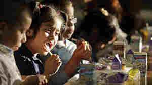 Students at Garfield Elementary School eat dinner as part of an after-school program in Kansas City, Mo. In the past few years, a federally subsidized school dinner program has spread from six to all 50 states.