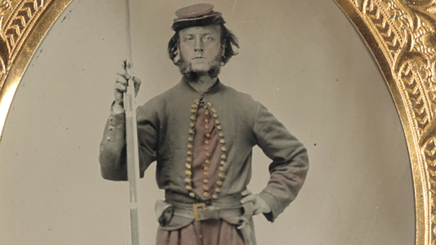A Civil War soldier poses for a photograph, in this image contributed to the Library of Congress by Tom Liljenquist and his family. (Library of Congress)