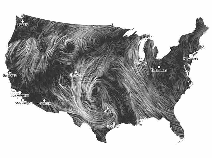 A map illustrating the wind patterns across the United States on March 21, 2012.