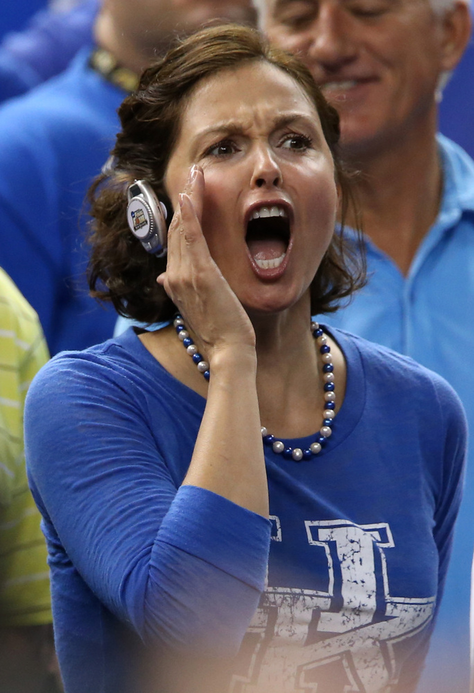 Ashley Judd cheered for Kentucky — as she so often does — during the NCAA semifinals on March 31. Why is this photo here? Because pictures of Ashley Judd cheering at basketball games are the best Ashley Judd pictures. (Getty Images)