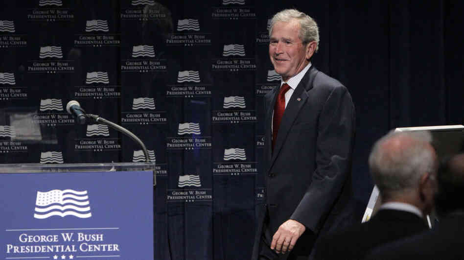 Former President George W. Bush appeared at a Bush Center Freedom Collection event on March 28 in Dallas.