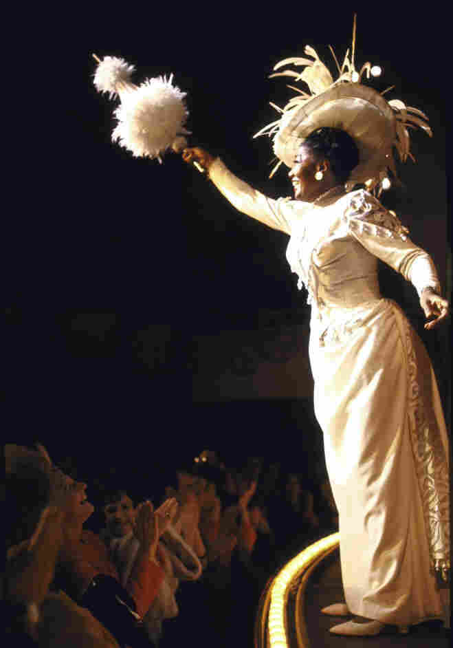 Actress Pearl Bailey during curtain call for the 1967 Broadway production of Hello, Dolly!
