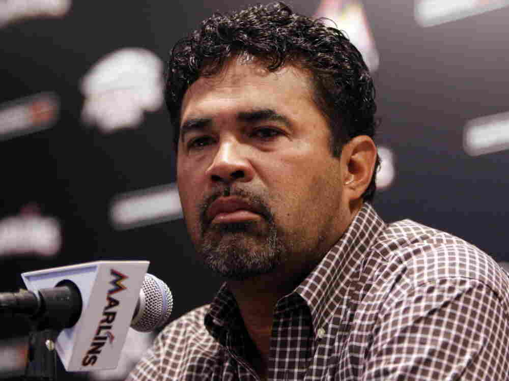 Marlins manager Ozzie Guillen during his news conference this morning in Miami.