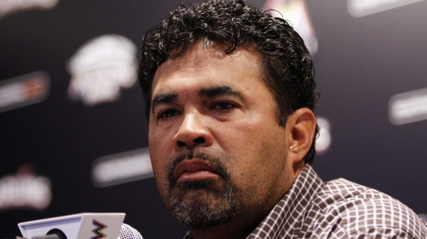 Marlins manager Ozzie Guillen during his news conference this morning in Miami.  (AP)
