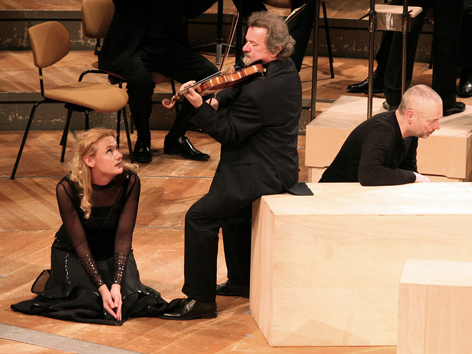Mezzo-soprano Magdalena Kožená with violinist Daniel Stabrawa and tenor Mark Padmore perform in Bach's <em>St. Matthew Passion</em>.