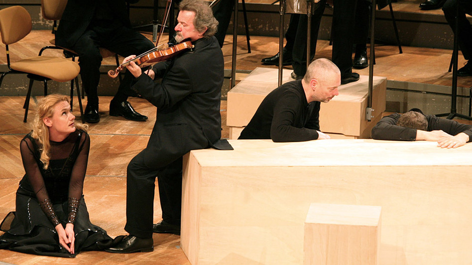 Mezzo-soprano Magdalena Kožená with violinist Daniel Stabrawa and tenor Mark Padmore perform in Bach's St. Matthew Passion. (Berlin Philharmonic)