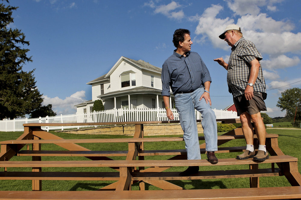 Campaigning in August, Santorum stops at the Dyersville, Iowa, farm where the movie Field of Dreams was filmed.