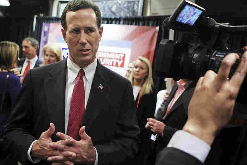 After another debate, in Spartanburg, S.C., on Nov. 12, Santorum speaks to members of the media.