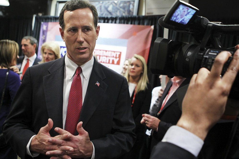 After another debate, in Spartanburg, S.C., on Nov. 12, Santorum speaks to members of the media.