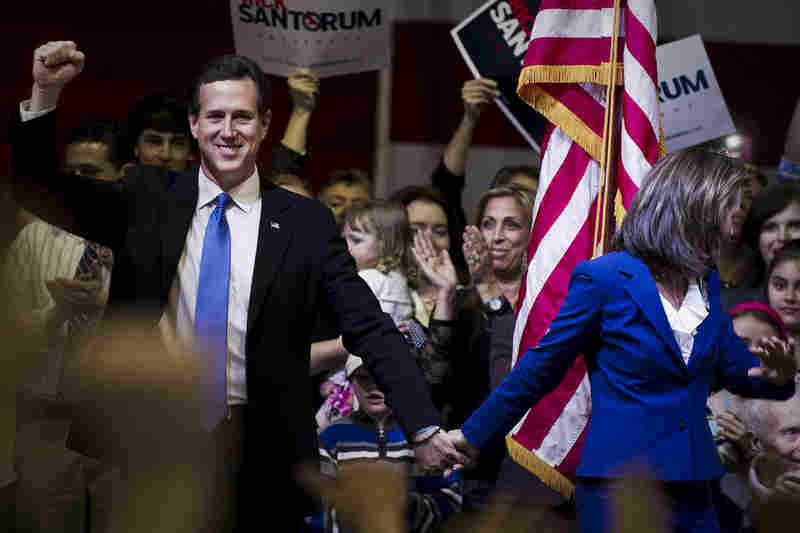 Santorum celebrates Super Tuesday wins in Oklahoma and Tennessee on March 6 in Steubenville, Ohio — a state he narrowly lost.