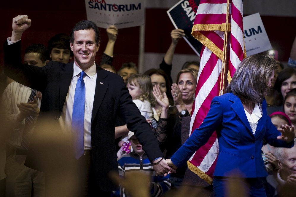 Santorum celebrates Super Tuesday wins in Oklahoma and Tennessee on March 6 in Steubenville, Ohio -- a state he narrowly lost.
