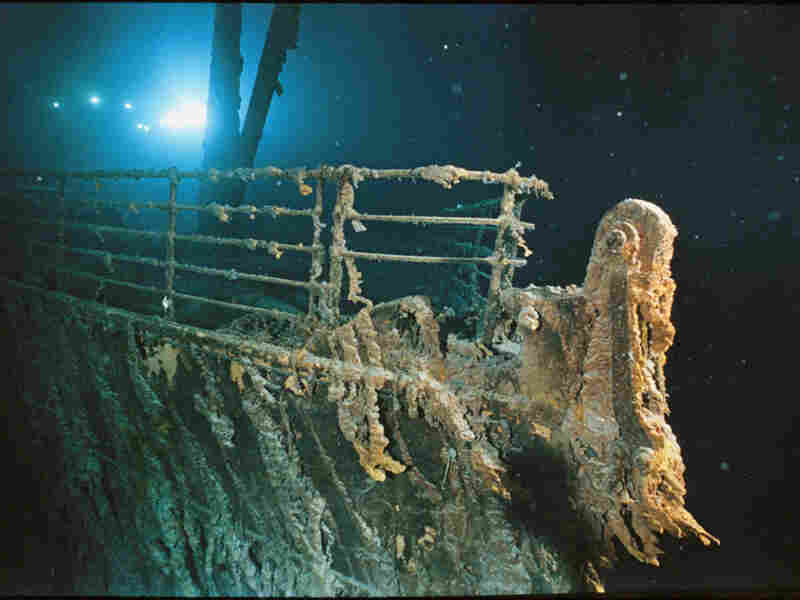 The bow railing of RMS Titanic, illuminated by the Mir 1 submersible. Read more about the wreck in a National Geographic report.