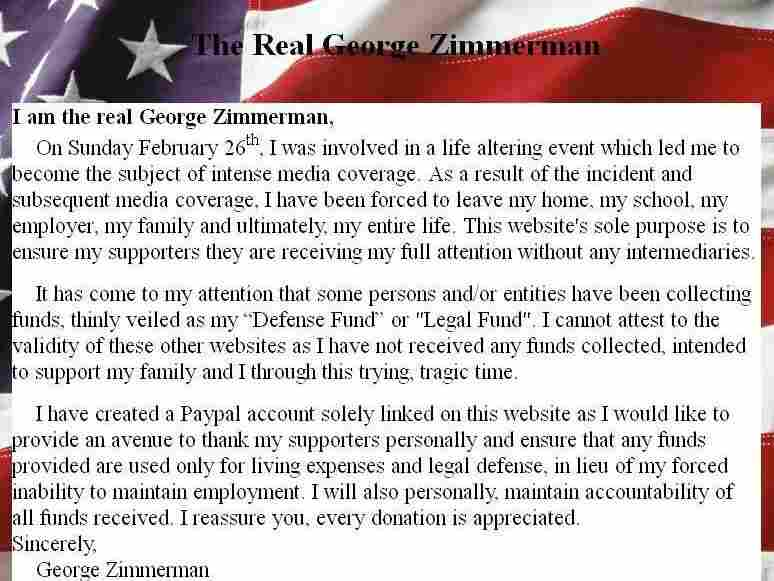TheRealGeorgeZimmerman.com website.