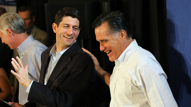 Mitt Romney jokes with Wisconsin Rep. Paul Ryan during a pancake brunch on April 1 in Milwaukee. (Getty Images)