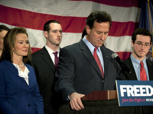 Surrounded by members of his family, Republican presidential candidate Rick Santorum announced he will be suspending his campaign during a press conference at the Gettysburg Hotel on April 10, 2012 in Gettysburg, Pa.