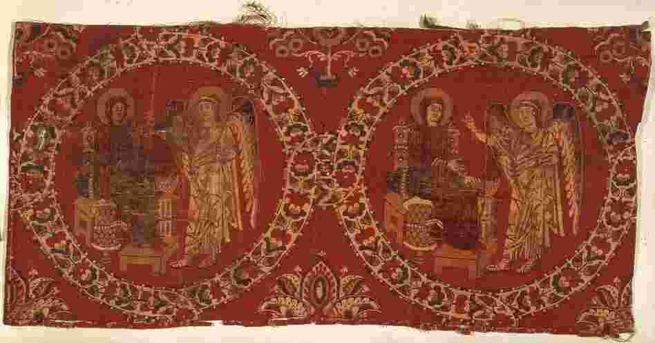 The Christian Annunciation, depicted in a tapestry of polychrome silk from the eighth or ninth century.