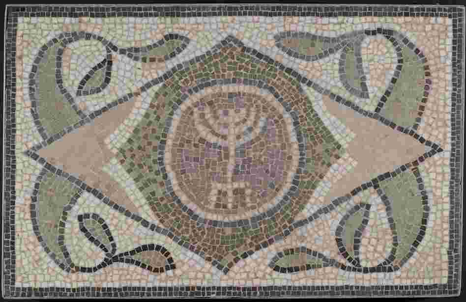 This mosaic is of a menorah from a sixth-century synagogue in Tunisia, a time when Jewish communities prospered in the region.