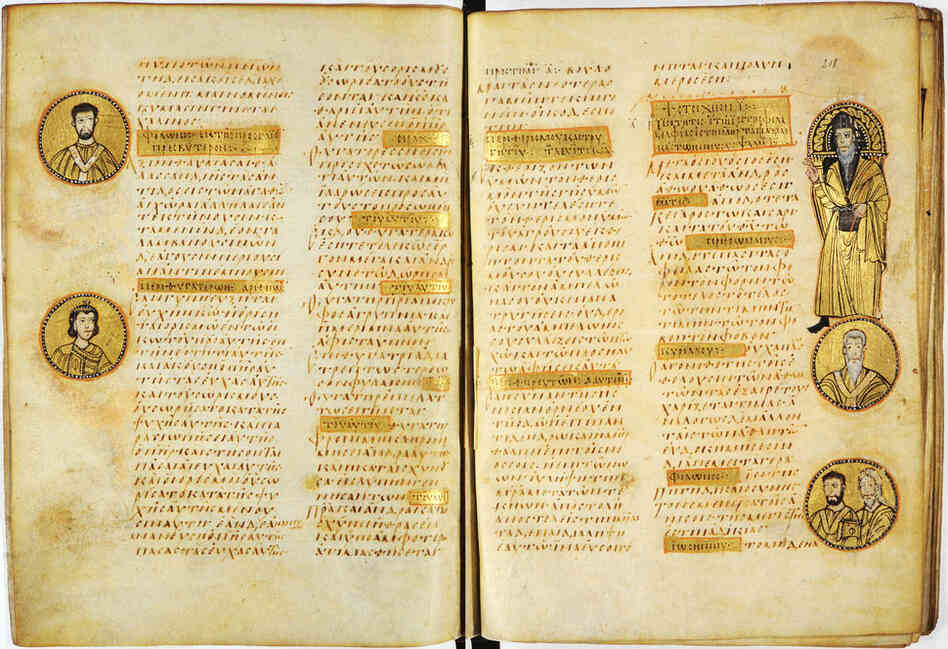 A Christian manuscript, the Sacra Parallela, from the ninth century and possibly from Constantinople.