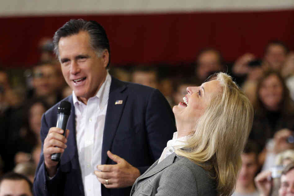 LOL: Ann Romney laughs with her husband during a town hall meeting in Youngstown, Ohio, in March.