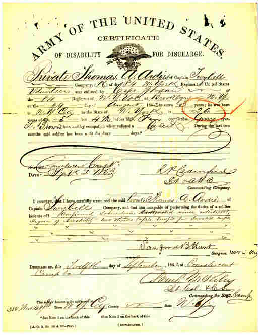 Thomas A. Ardies' certificate of disability, issued by the U.S. Army in 1863.