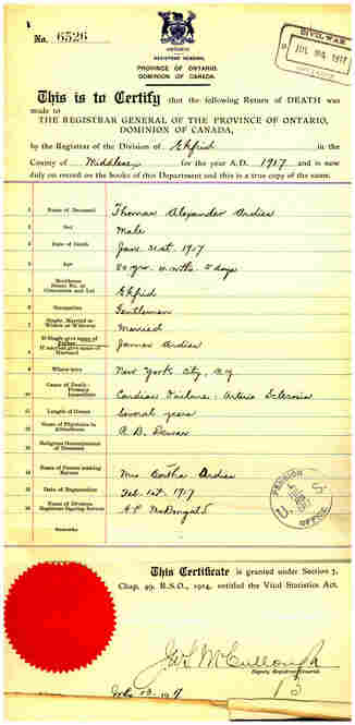 """The death certificate for T.A. Ardies, who died at the age of 80 on Jan. 31, 1917. His occupation is listed as """"Gentleman."""""""