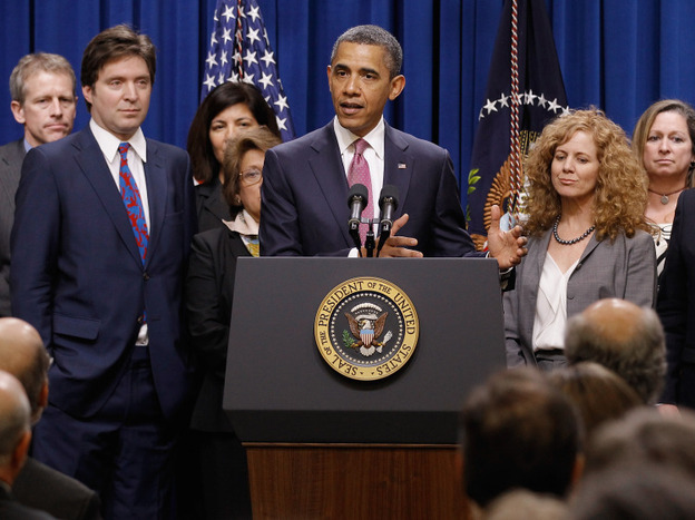 """President Obama, with millionaires and their assistants, makes a point on the """"Buffett Rule"""" in Washington, DC, Wednesday, April 11, 2012. (Getty Images)"""