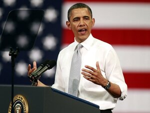 "President Obama makes a case for the tax proposal dubbed the ""Buffett rule"" Tuesday at Florida Atlantic University in Boca Raton, Fla."