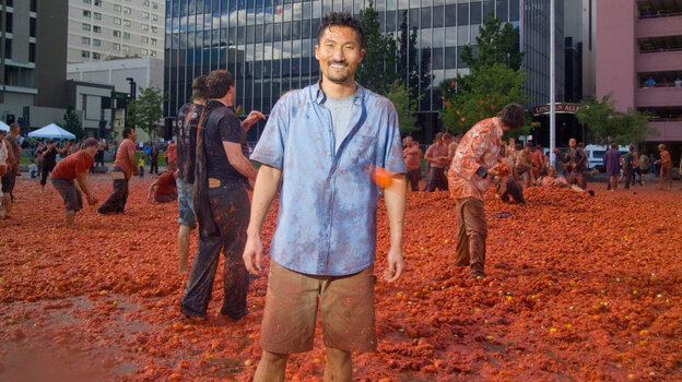Yul Kwon visits the Reno Tomatina, a giant tomato fight, in the first episode of PBS's America Revealed.