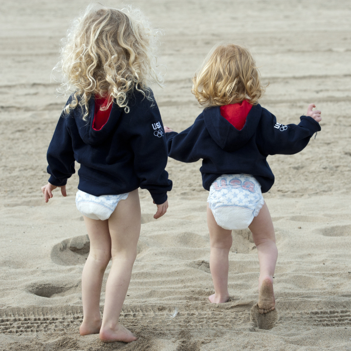 "Kerri Walsh, who is sponsored by Pampers, says her sons, pictured here, will wear the company's special ""Team USA"" diapers during the 2012 London Games."