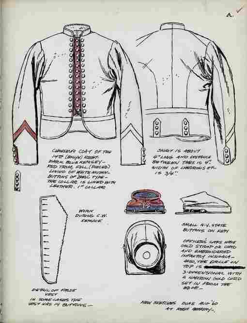 A sketch details the 14th Brooklyn regiment's uniform jacket, vest and kepi.