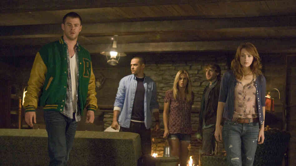This Looks Familiar: If Curt (Chris Hemsworth), Holden (Jesse Williams), Jules (Anna Hutchison), Marty (Fran Kranz) and Dana (Kristen Connolly) resemble the cardboard cut-out college students who prove expendable in so many horror movies — well, that's intentional.