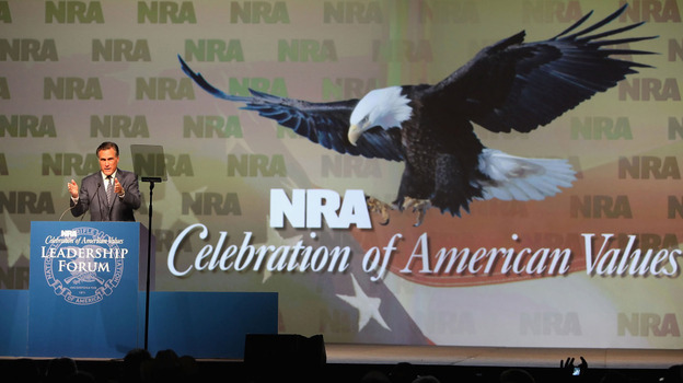 Mitt Romney speaks at the 138th National Rifle Association of America meetings on May 15, 2009, in Phoenix.  (Getty Images)
