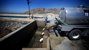 A truck discharges raw sewage from Port-au-Prince into a brand-new treatment plant outside the city. It's one of two that will soon handle the entire effluent from the Haitian capital, which has a population of 3 million.