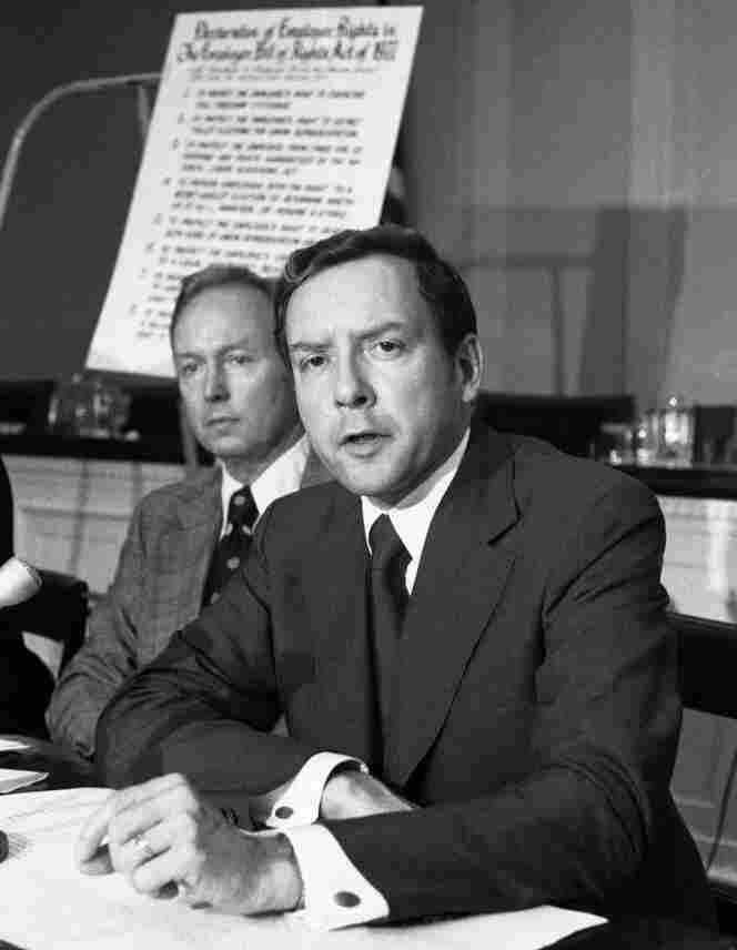 Sen. Orrin Hatch, R-Utah, is shown in 1977 in Washington, D.C. In background is Rep. John Erlenborn, R-Ill.