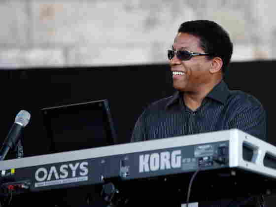 Herbie Hancock at the Korg on stage at Newport.