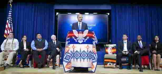 Attorney General Eric Holder announces a $1.023 billion settlement of lawsuits filed by 41 American Indian tribes.