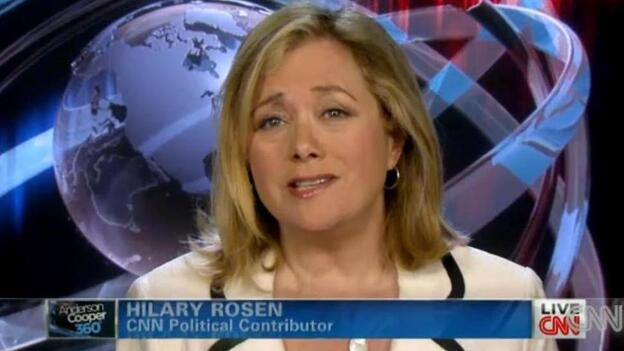 Democratic strategist Hilary Rosen, during her appearance on CNN. (CNN.com)