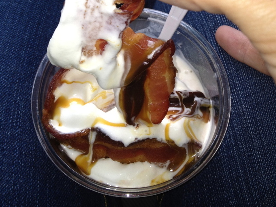 A close encounter with the Burger King bacon sundae.