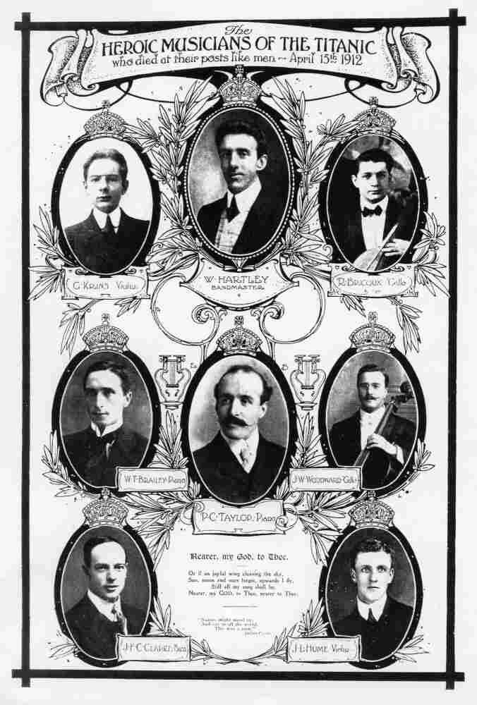 Portraits of Wallace Hartley (top center) and the other musicians aboard the Titanic, published after the ship sank in 1912.