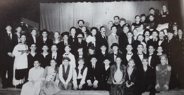 """The cast and crew of Titanic, as pictured in my 2001-2002 yearbook. I'm standing in the third row back on the right side, in front of the """"captain."""""""