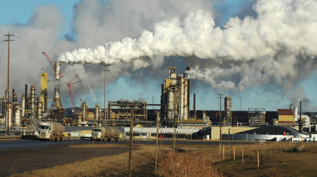 The U.S. now imports far more oil from Canada than from any other country. Persian Gulf imports now account for less than 15 percent of the oil consumed in the U.S. This photo shows the Syncrude oil sands extraction facility near Fort McMurray, Alberta, Canada, in 2009. (AFP/Getty Images)