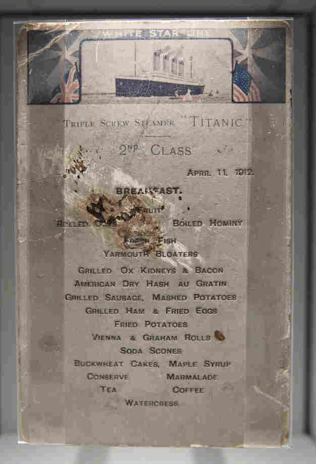 A second class breakfast menu from Titanic seen on display at the SeaCity Museum in London.