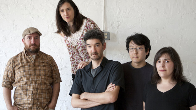 Stephin Merritt (far left